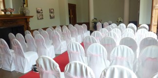 wedding chair covers pink organza sash