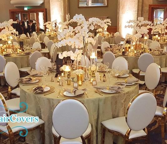 gold rim chairs wedding hire