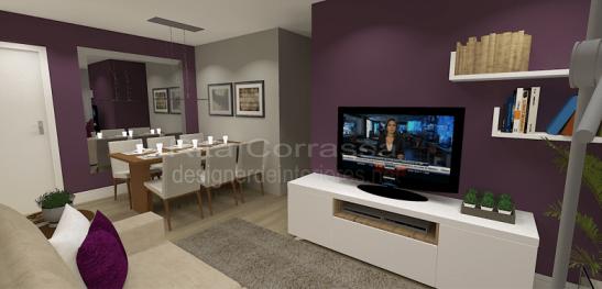 projeto de sala de estar e jantar moderna