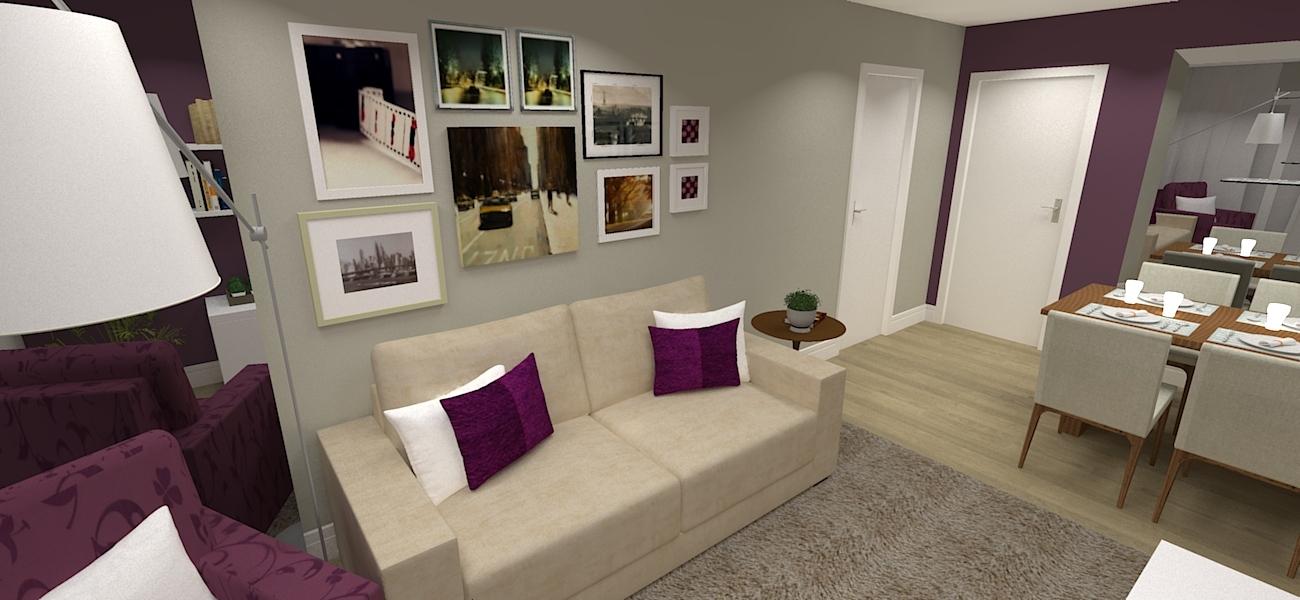 Projeto de sala de jantar e estar com parede violeta for Mesa de cafe pequena sala de estar