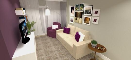 Sala de estar parede roxa