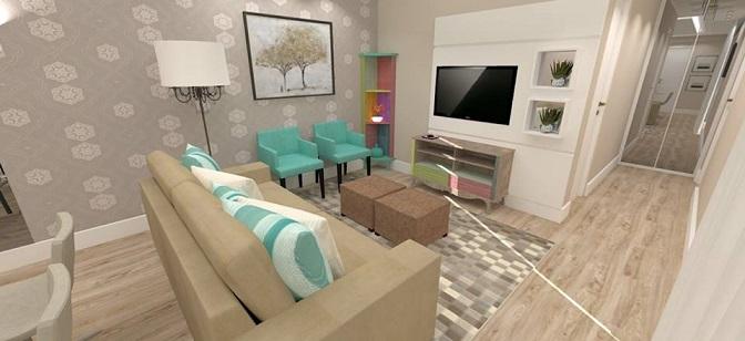 Sala de estar e tv bege e turquesa