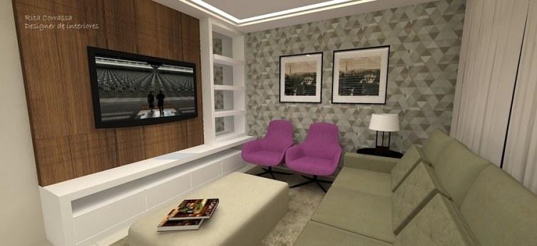 Ver Salas De Tv Decoradas ~ de forro de gesso com sanca de fita de LED para que, quando forem ver