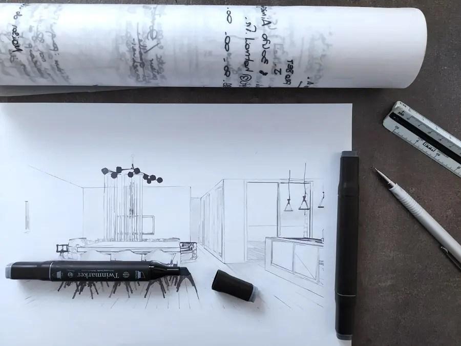 dessin architecture intérieur apprendre à dessiner perpective croquis decoration