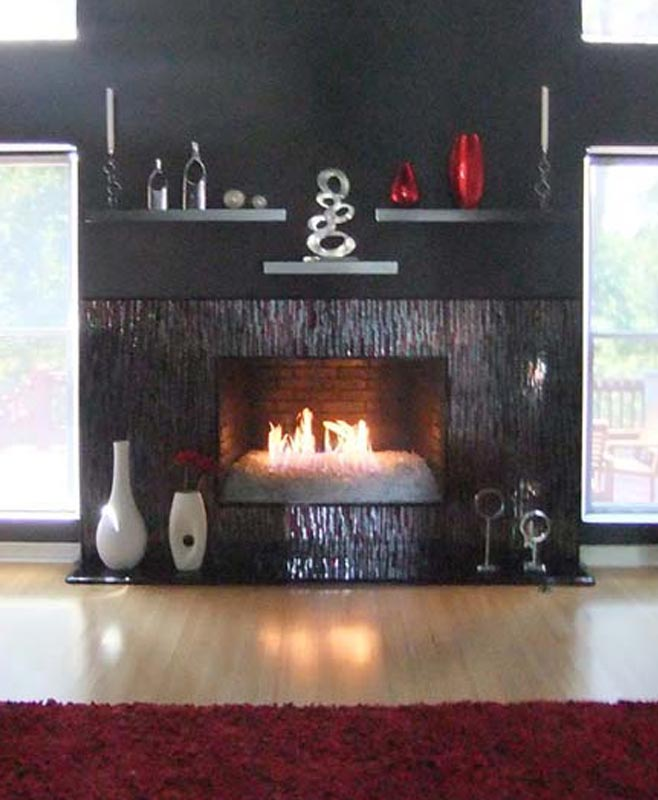 Mosaic Fireplace Surround In Red Amp Silver Bamboo