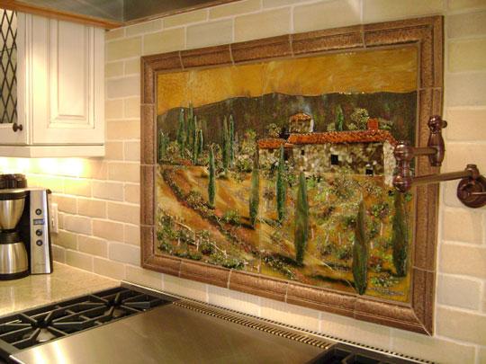 Fused Glass Kitchen Backsplash In Tuscany Theme Designer