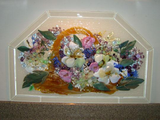 Fused Glass Kitchen Backsplash Basket Of Flowers