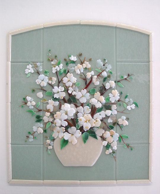 Fused Glass Dogwood Floral Kitchen Backsplash Designer