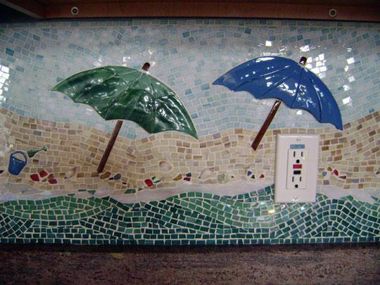 Mosaic Kitchen Backsplash Beach Scene Designer Glass