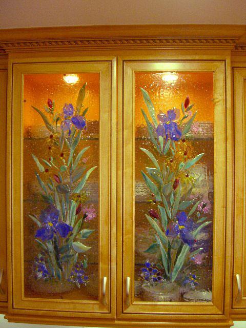 Blue Iris Kitchen Cabinet Panels Designer Glass Mosaics