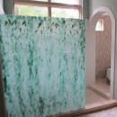 Fused Glass Shower Wall in Hanging Wisteria Motif