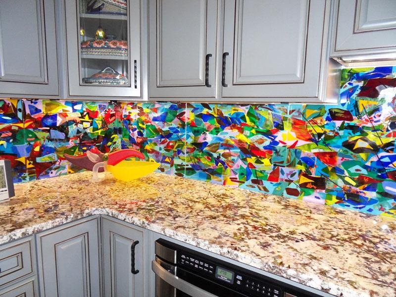 Colorful Abstract Kitchen Backsplash Designer Glass Mosaics