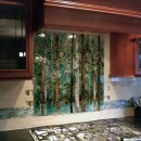 Kitchen Backsplash – Fused Glass Abstract Trees