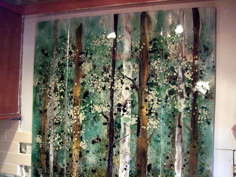 Kitchen Backsplash Fused Glass Abstract Trees Designer Glass Mosaics