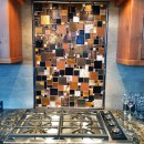 Fused Glass Mosaic Patchwork Kitchen Backsplash