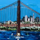 Fused Glass Golden Gate Bridge Mural