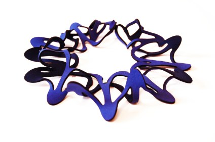 Jelka Quintelier - Black Lune - Foglia Blue necklace - laser cut neoprene