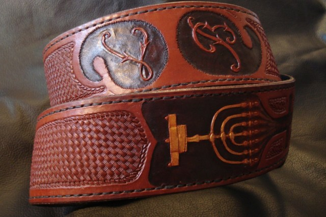 Custom Tooled Monogram, Menora, and Basketweave Guitar Strap