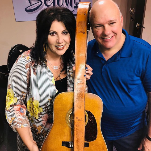 Rebecca Isaacs Bowman with CT Strickland and her Custom Scripture Guitar Strap