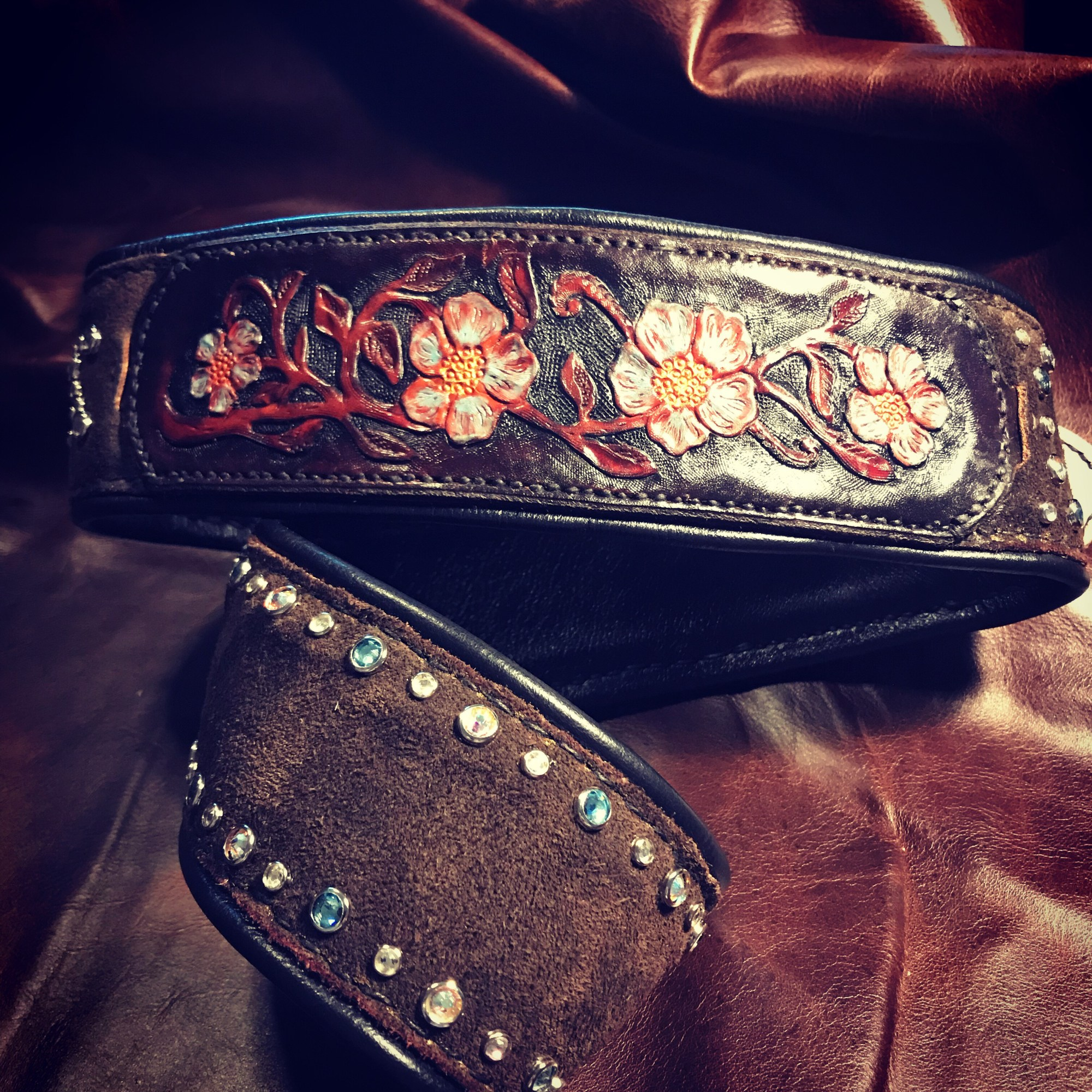 Custom Artist Series Guitar Strap featuring Tooled Panels and Swaroski Crystals on Chocolate Brown Suede by Designer Leatherworks