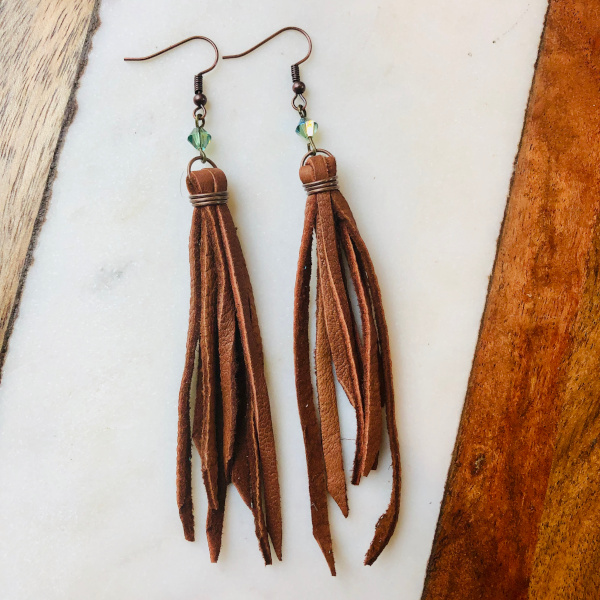 Fringe Leather Earrings with Swarovski Bead Built by 48 North Designs and Distributed by Designer Leatherworks