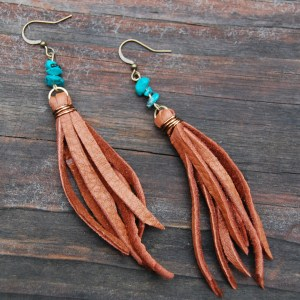 Fringe Leather Earrings with Turquoise