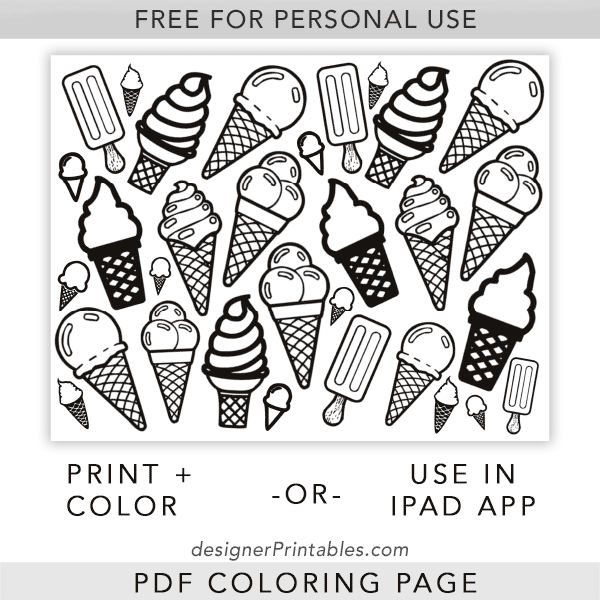 Free Printable Coloring Page Ice Cream Cones Designer Printables