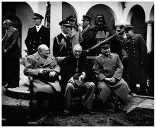 """Conference of the Big Three at Yalta makes final plans for the defeat of Germany. Here the """"Big Three"""" sit on the patio together, Prime Minister Winston S. Churchill, President Franklin D. Roosevelt, and Premier Josef Stalin. February 1945. (Army) Exact Date Shot Unknown NARA FILE #: 111-SC-260486 WAR & CONFLICT BOOK #: 750"""