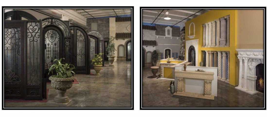 Visionmaker Design center interior pictures showing doors and fireplaces and stone columns