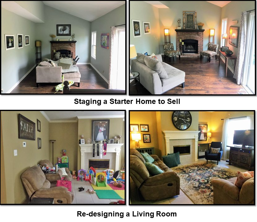 picutres of living rooms before & after with fireplaces and couches