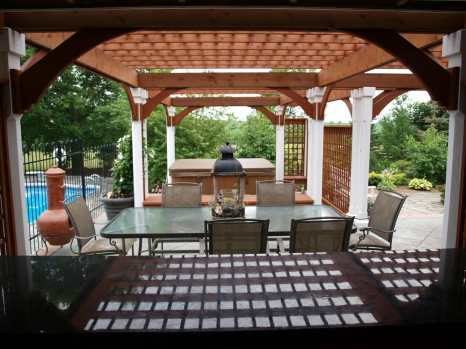pergola from outdoor kitchen