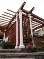 trelliswork designed into a pergola structure