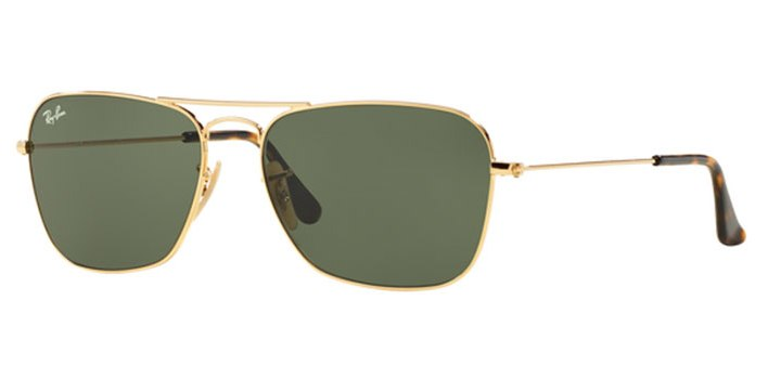 Ray Ban Caravan Sunglasses RB3136 181 Gold with Dark Green Lens