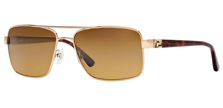 Mens Polarized Versace Sunglasses VE2141 1252M7 Pale Gold