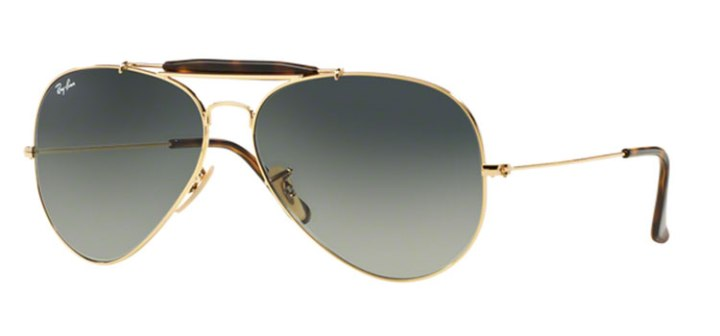 Ray Ban Outdoorsman II Sunglasses RB3029 181/71 Gold with Grey Lens