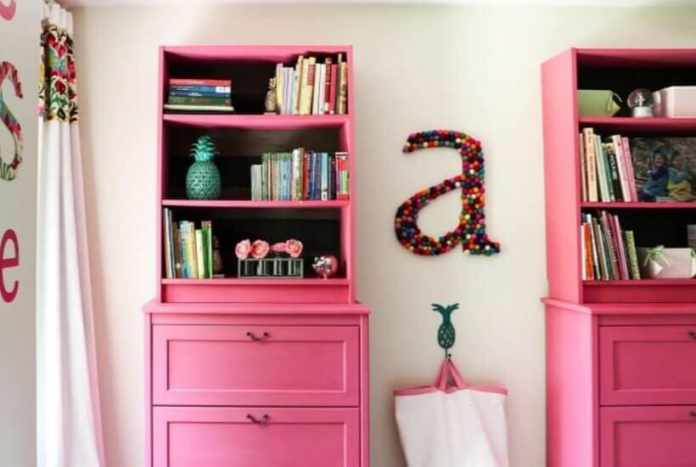 bright pink billy bookcase hack