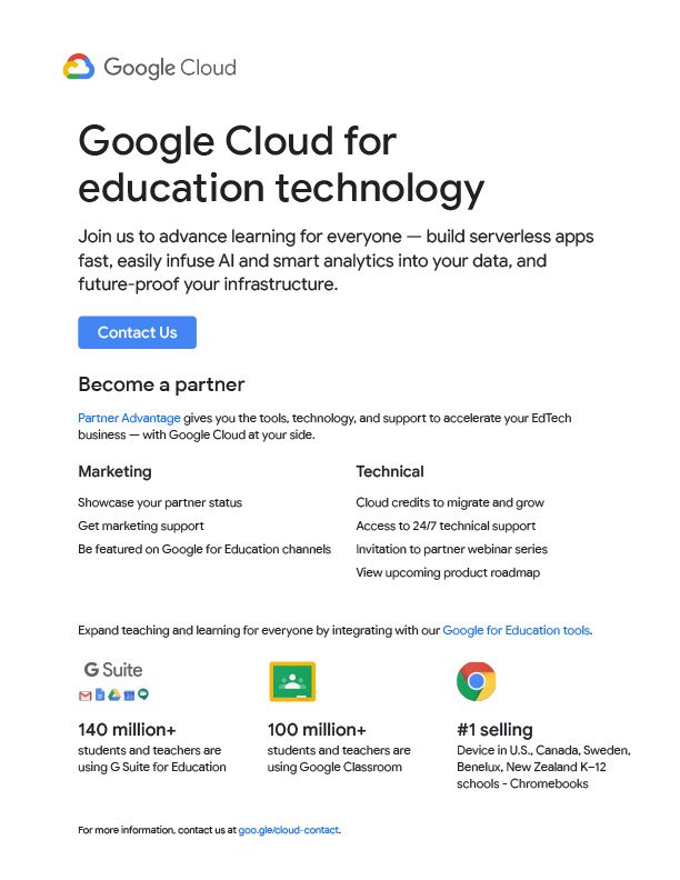 Google Cloud for Education Technology one sheeter Firebrand Design & Business Solutions in Safety Harbor, FL