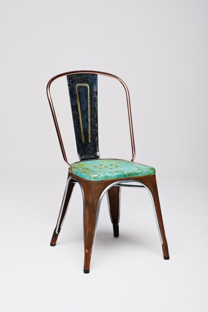 Lex Pott's oxidised copper Tolix chair