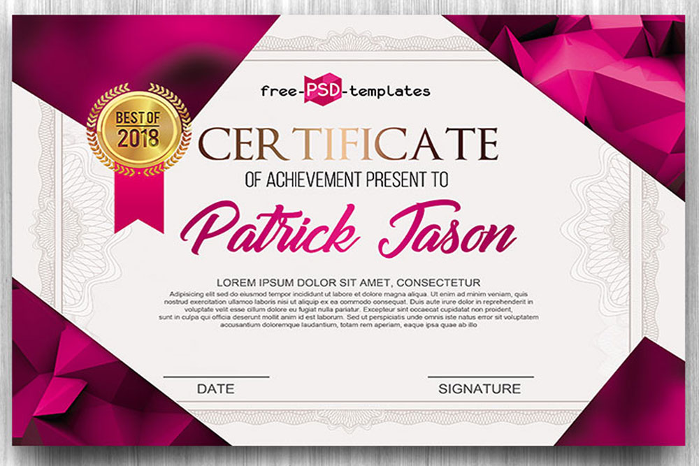 Download This Free Certificate Psd Template Designhooks