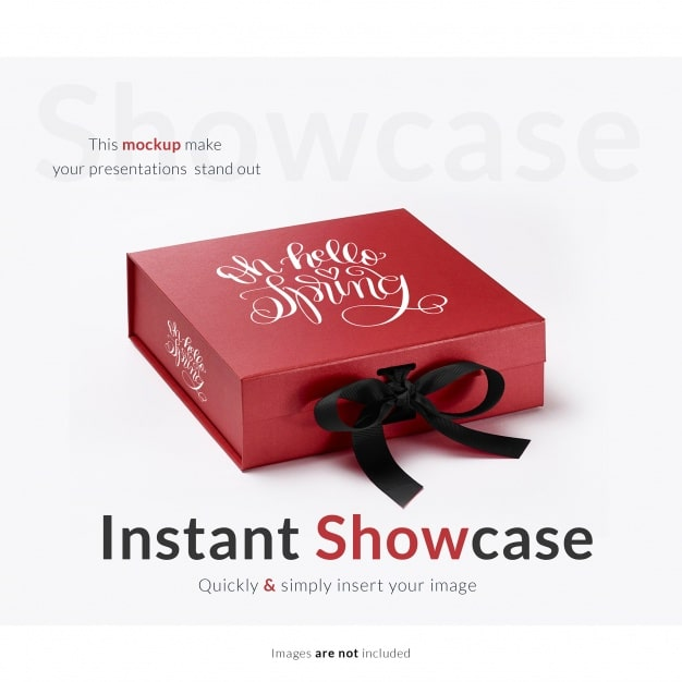 Download Free Customizable Red Gift Box Mockup in PSD - DesignHooks
