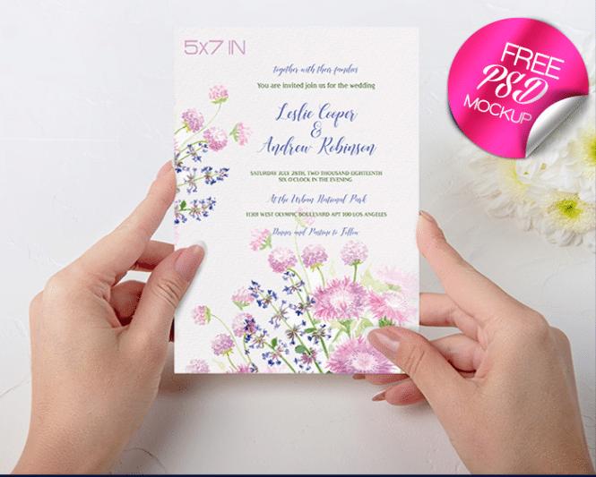 wedding invitation card psd mockup free