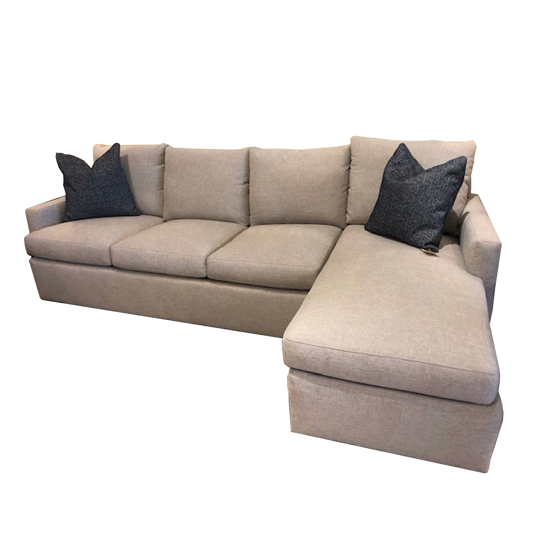 sherrill sectional w right arm chaise and upholstered base shown in johnny taupe grade 14 fabric memory blue contrasting pillow spring down fill
