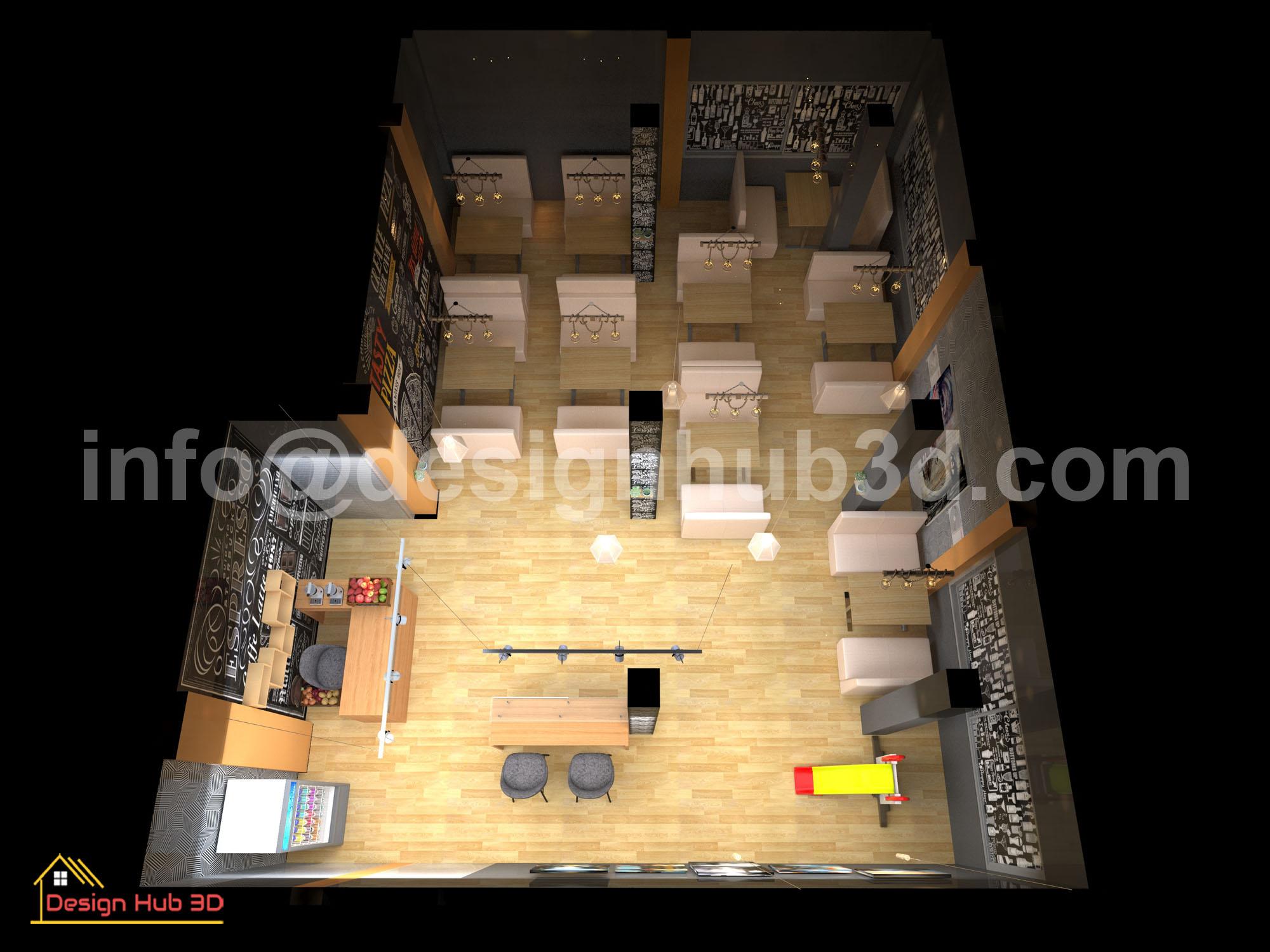 DesignHub 3D-Restaurant Top view, Restaurant interior, Restaurant Decor, Restaurant Top View