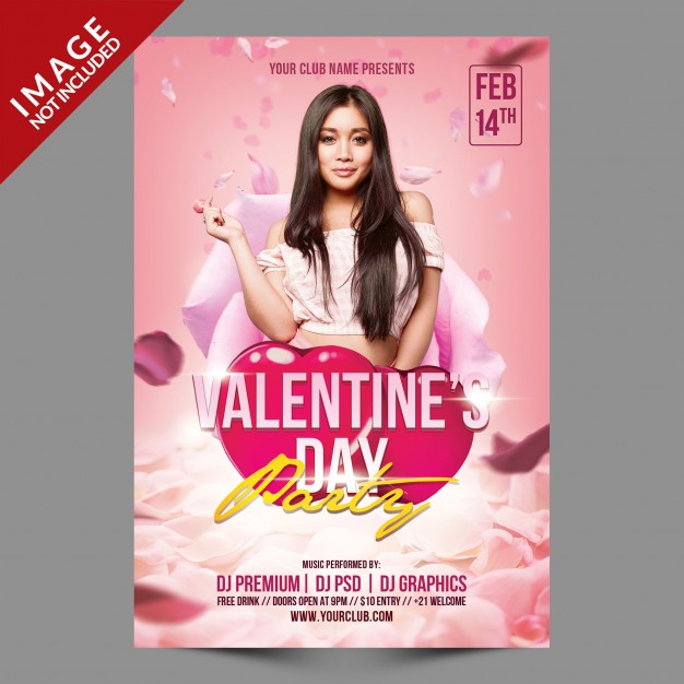 Valentine's day party psd flyer template