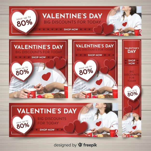 Valentine's day web banners Free Vector free download