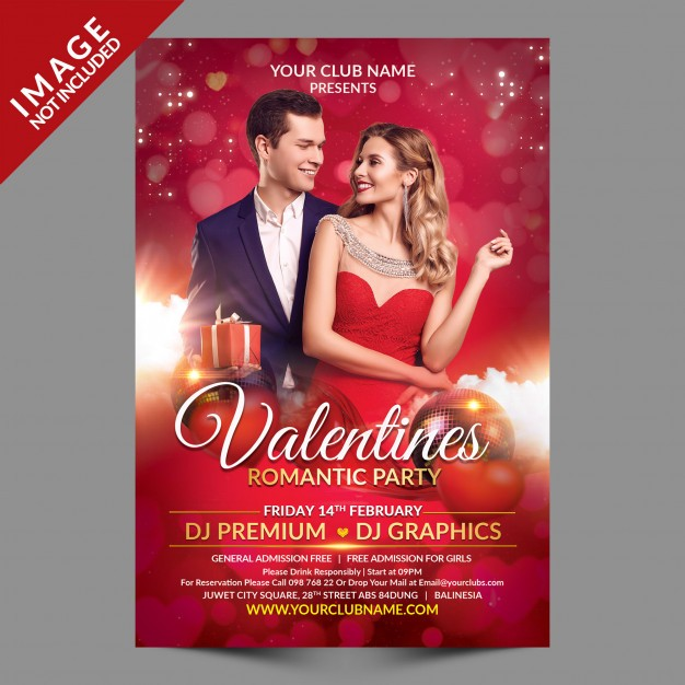 Valentines romantic party flyer template Psd