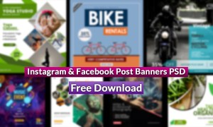 10 Instagram & Facebook Post Banners PSD Free Download