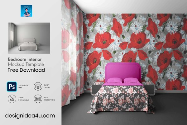 Bedroom Interior Mockup PSD Template Free Download
