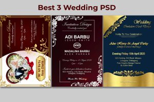 Best 3 Luxury Wedding Invitation Card Design Free PSD Templates