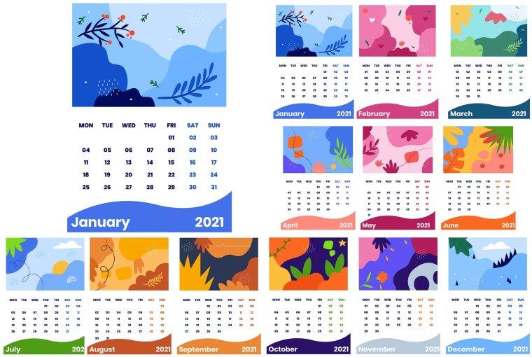 Free 2021 Calendar - Monthly Wall Calendar 2021 Template